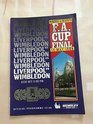 Fa Cup Final Liverpool v Wimbledon 1988 Official Programme Not Mint