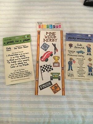 New Cub Boy Scout Scrapbook Stickers 3 Packages Pinewood Derby I