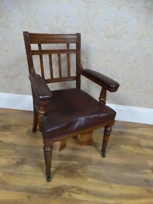 Fabulous Antique Victorian Oak Framed leather seated Hall armchair,