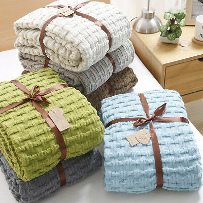 New Grid Knitted Blanket Bedroom Bed Throw Lightweight Soft Sofa Couch Cover