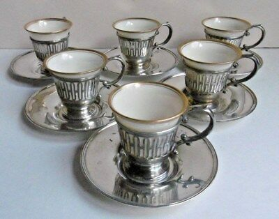 6 Sterling Silver & Lenox Porcelain Demitasse Coffee Cups & Saucers Watson USA
