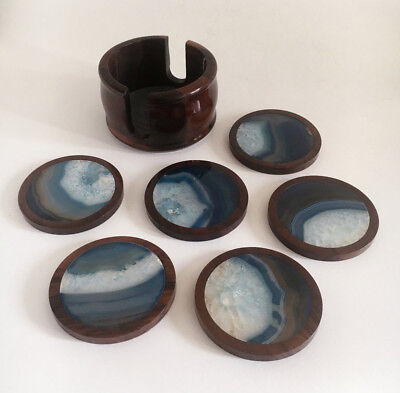 Agate Wood Coasters Mid Century Gemstone Coaster Set of 6 Blue and Brown vintage