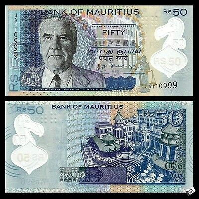 Mauritius 50 Rupees  Polymer Note  UNC