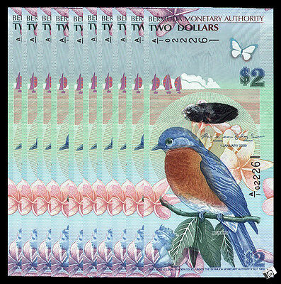 Lot 10 PCS Bermuda 2 Dollars 2009 P-57 UNC