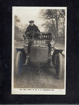 Fred Terry in his Decauville motor car advert postcard