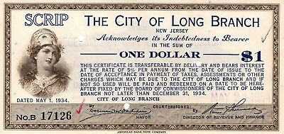 $1 City Of Long Beach New Jersey Depression Script High Grade 1933 Obsolete