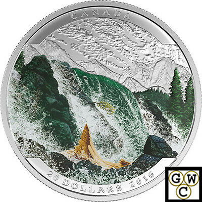 2016 Salmon-Landscape Illusion Color Prf $20Silver Coin 1oz .9999Fine(NT)(17717)