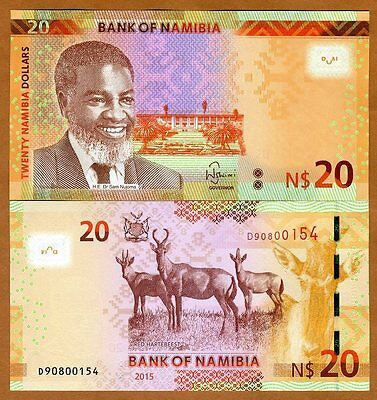 Namibia, 20 dollars, 2015, Pick New, UNC > Redesigned