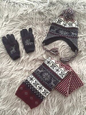 Boys Hat, Scarf & Gloves Winter 7-13 Years