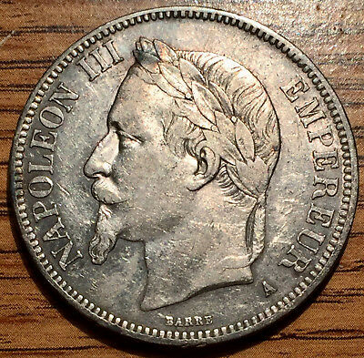 1867 Silver France 5 Francs Napoleon III Coin Paris Mint About Uncirculated