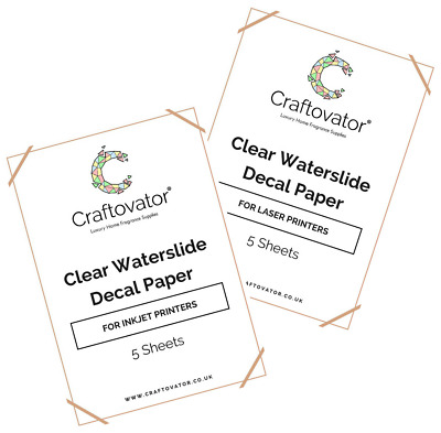 CLEAR Water Slide Decal Paper INKJET & LASER A4 Waterslide Transfer Sheets Packs
