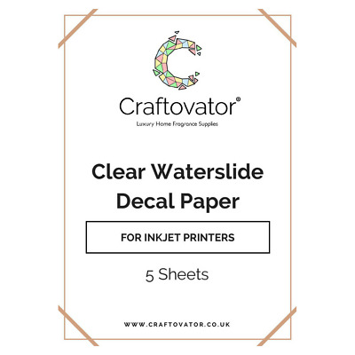 CLEAR Water Slide Decal Paper INKJET A4 Waterslide Transfer Sheets Packs
