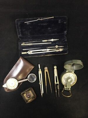 Lot of Vintage Compasses and Map Tools