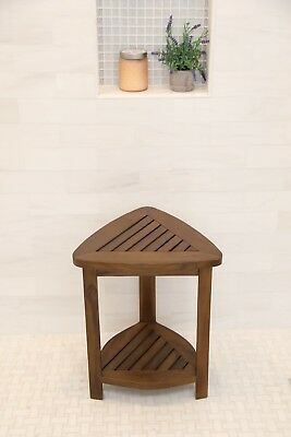 Teak Wood Corner Bath Shower Seat Stool Bench