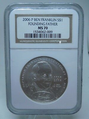 2006 US Silver Ben Franklin Founding Father Dollar MS70 By NGC