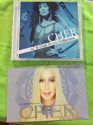 Cher postcard + free  Remix CD collection Skin Deep Heart of Stone dancing queen