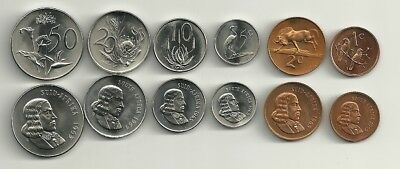 6 coin 1965 SOUTH AFRICA  1 cent, 2c, 5c, 10c, 20c, and 50 cent PROOF