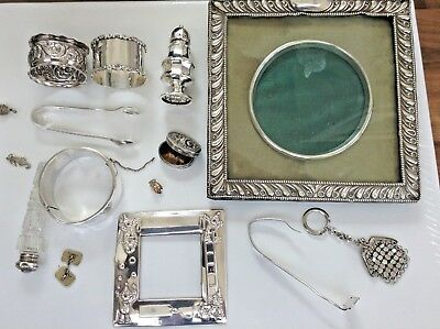 11  x Sterling/S As Found Items Napkin Rings Bangle P/Frame & 4 x W/Metal Items