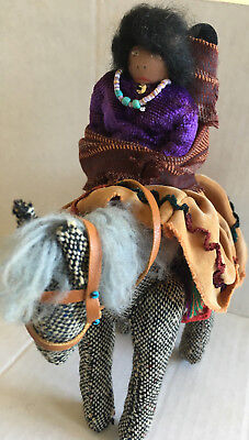 NATIVE AMERICAN DOLL Papoose Mother in Silk Skirt w Horse Leather Bridle VINTAGE