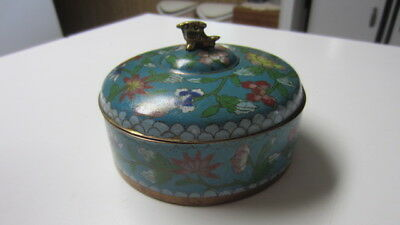 Vintage Brass & Enamel / Cloisonne Dish / Powder Container with Lid, China