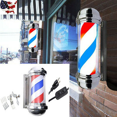 Barber Shop Pole Tricolor Red White Blue Rotating Light Stripes Sign Hair Salon