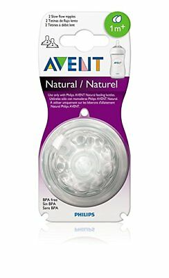 Philips AVENT BPA Free Natural Nipple Shape, Slow Flow 1m+, 2 Count