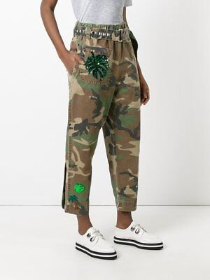 8cd8220162db Womens Marc Jacobs Green Belted Camouflage Camo Embellished Tapered Pants  Size 0