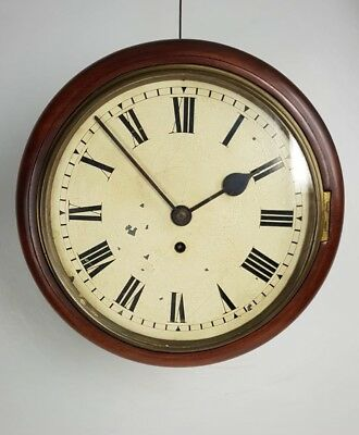 Mahogany 10in Fusee Dial Wall Antique Clock Richmond Library London