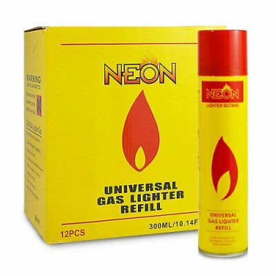 12 Cans Neon Ultra Refined Butane Gas Filtered Lighter Refill Fuel