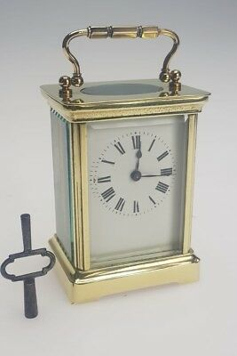 Vintage Frinch Carriage Timepiece/ Mantel Brass In Lacquered Avg Marked Working