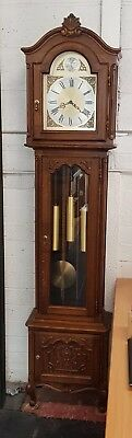 1980s Westminster chime carved Oak longcase Grandfather clock