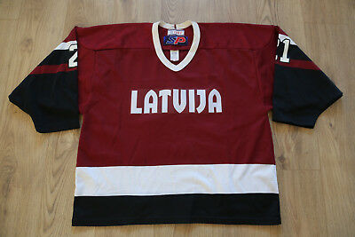 IIHF Game Worn Latvia Latvija Ice Hockey Jersey Shirt SP Size Large #21
