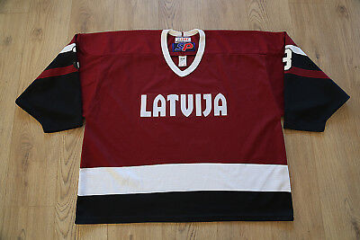 IIHF Game Worn Latvia Latvija Ice Hockey Jersey Shirt SP Size XXL #3