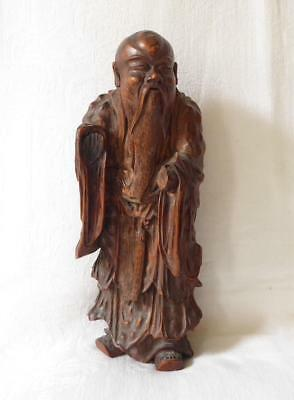 Antique 18Th Or 19Th Century Chinese Root Carving An Elderly Sage Poss Shou Hao
