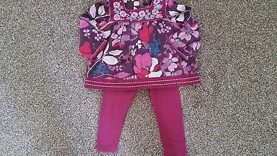 Monsoon Baby Girls Floral Purple Summer Outfit Tunic & Leggings UK  18-24 months