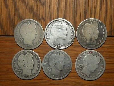 US Barber Quarter Dollar Silver Coins 1890's Lot Antique 6 Total Collectible Set