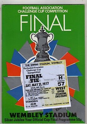 1977 FA Cup Final Liverpool v Manchester United programme/ticket/Ex Con