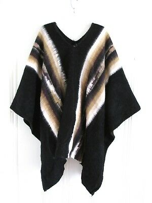 Vtg 100% Wool The Whispers Made in PERU Unisex Bohemian Hipster PONCHO