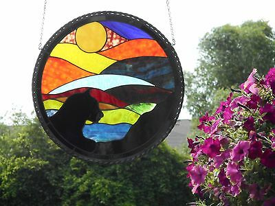 """""""Black Cat""""  Large Round Stained Art Glass Handmade Artist Signed Window Panel"""
