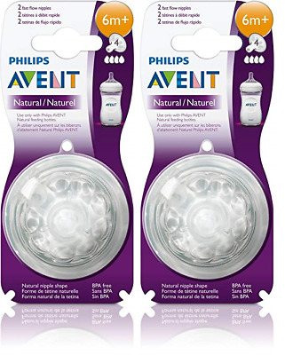 Philips AVENT BPA Free Natural Nipple Shape, Fast Flow 6m+, 2 Count (2 Pack)