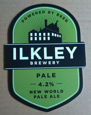 Beer pump badge clip ILKLEY brewery PALE pumpclip front real cask ale Yorkshire