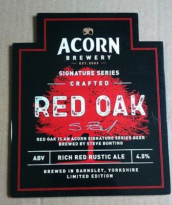 ACORN brewery RED OAK cask ale beer pumpclip badge front pump clip Yorkshire