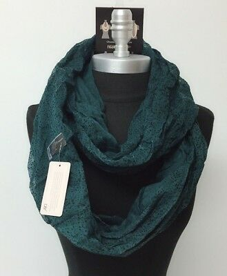 New Fashion Women Infinity Loop Scarf Cowl Circle Wrap Color Teal / black