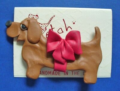 Cheeta PIN Dachshund MOC DOG w RED BOW Polymer Clay Vtg Handmade Brooch