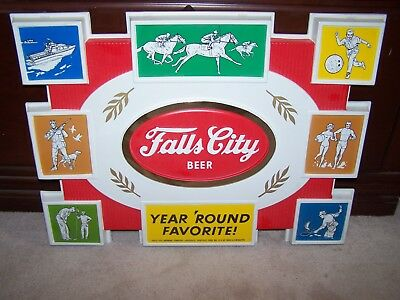 VINTAGE NOS 1963 FALLS CITY BEER SPORTS Sign Hunting Fishing Kentucky Derby Golf