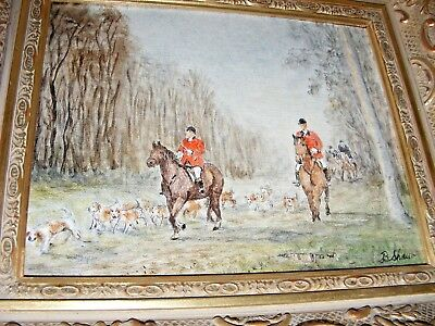 Vintage Oil Painting On Board Hunting Horses & Hounds Bernard Shaw Dorset Artist