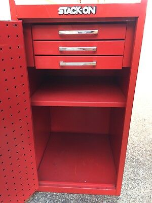 Stack On Red Metal 3 Drawer Peg Board Tool Side Cabinet Chest
