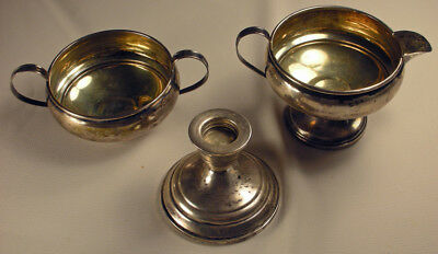 Sterling Silver  Creamer, Sugar Bowl And Candlestick