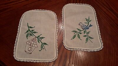 Pair Of Vintage Embroidered Table Doilies Sweet Blue Bird & Bird House