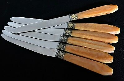 Vintage French Art Deco DESSERT Table KNIFE SET AMBER Bourgade Inoxydable x6